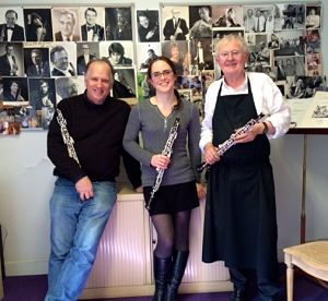 Bob at the Lorée Oboe factory with Marie-Lea and Alain de Gourdon