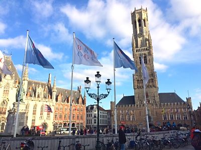 Market Square and tower in Bruges
