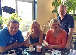 Vladimir, Maja Bogdanovic, Lisa and Bob enjoying coffee at Cafe D'Bolla